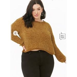 Forever 21 Ribbed Chenille Sweater Mustard